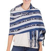 Cotton shawl, 'Blue Tradition' - Hand Woven Cotton Shawl with Hand Tied Fringe from Guatemala