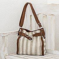 Leather accent cotton handbag, 'Natures Lines'