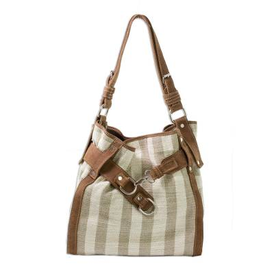 Leather accent cotton handbag, 'Natures Lines' - Central American Cotton Shoulder Bag