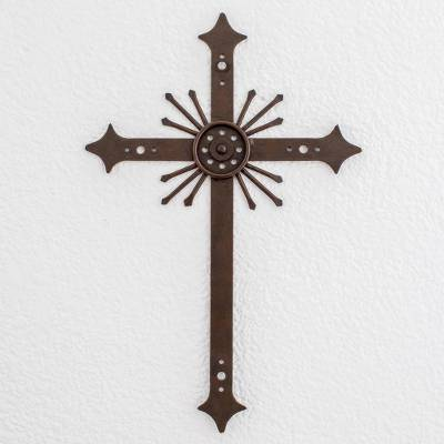 Wrought iron cross, 'Message of Light' - Religious Iron Cross Wall Art