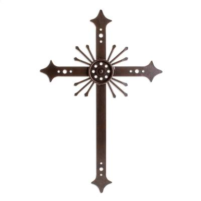 Wrought iron cross, 'Message of Light' - Religious Iron Cross Wall Art