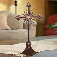 Wrought iron cross, 'God's Light' - Handmade Wrought Iron Altar Cross