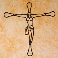 Wrought iron crucifix, 'Christ on the Cross' - Wrought Iron Crucifix Wall Decor
