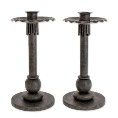 Wrought iron candleholders, 'Tradition' (pair) - Wrought iron candleholders (Pair)