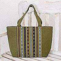 Cotton tote, 'Maya Meadows' - Green Striped Cotton Tote Bag