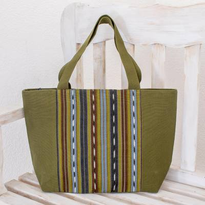 Cotton tote, 'Maya Meadows' - Green Striped Cotton Tote Bag Handwoven in Guatemala