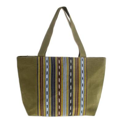 Novica Cotton tote bag, Festive Stripes