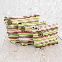 Cotton cosmetic bags, 'Strawberry Lime' (set of 3)