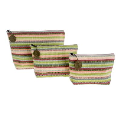 Cotton cosmetic bags, 'Strawberry Lime' (set of 3) - Striped Cotton Cosmetic Bags (Set of 3)