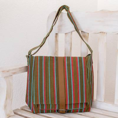 637b88fe55 Hand Made Women s Cotton Messenger Bag - Maya Rainbow