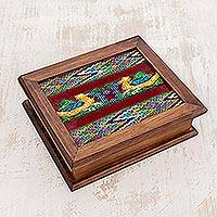 Wood and cotton tea box, 'Maya Ducklings' - Handmade Wood Decorative Box with Cotton Detailing