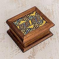Wood and cotton decorative box, 'Maya Town' - Wood and Cotton Decorative Box