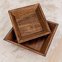 Wood centerpieces, 'Maya Square' (pair) - Wood centerpieces (Pair)