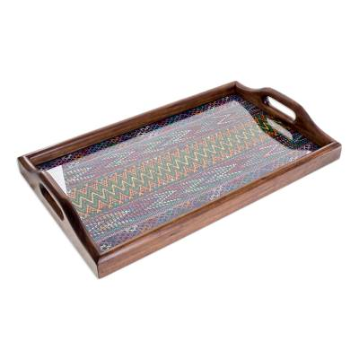 Wood and cotton serving tray, 'Maya Mystique' - Handmade Guatemalan Wood and Cotton Serving Tray