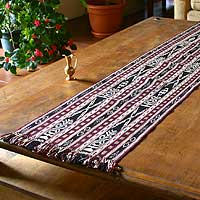 Cotton table runner, 'Mystical Maize' - Maroon and Black Woven Cotton Table Runner