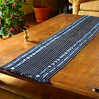 Cotton table runner, 'Lagoon Wonders' - Cotton table runner