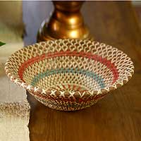 Natural fibers bowl, 'Colorful Infinite' - Natural fibres bowl