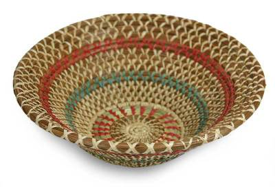 Natural fibers bowl, 'Colorful Infinite' - Natural fibres bowl