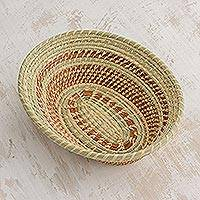 Natural fiber basket, 'Organic Essence' - Natural Fiber Woven Art Basket