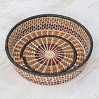 Natural fibers basket, 'Maya Sun' - Collectible Natural Fiber Woven Basket