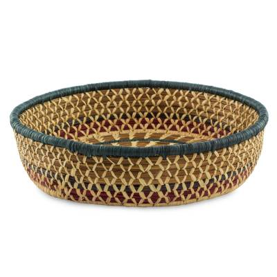 Natural fibers basket, 'Maya Sun' - Collectible Natural fibre Woven Basket