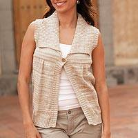 Natural cotton sweater vest, 'Cappuccino' - Guatemala Handmade Natural Cotton Sweater Vest