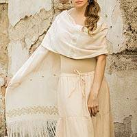 Cotton shawl, 'Wheat Harvest' - Fair Trade Floral Cotton Woven Shawl