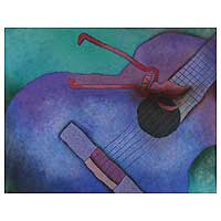 'Sadness' (1999) - Guitar Expressionist Painting from Central America