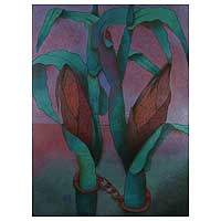 'The Prison' (2000) - Original Floral Expressionist Painting