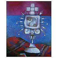 'N'oj Glyph' (2002) - Spiritual Oil Painting from Guatemala