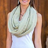 Cotton scarf, 'Valley Green' - Women's Central American Cotton Gauze Scarf