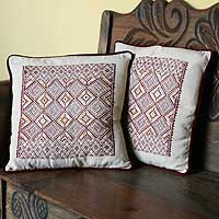 Cotton cushion covers, 'Twilight Stars' (pair)