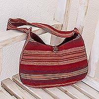 Cotton hobo bag, 'Garnet Synchronicity' - Hand Made Cotton Striped Shoulder Bag
