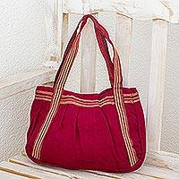Cotton shoulder bag, 'Crimson Sonnet' - Cotton shoulder bag