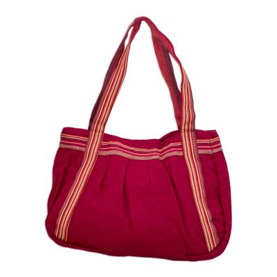 Novica Cotton shoulder bag, Crimson Lands - Handmade Red Shoulder Bag