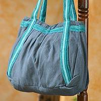 Novica Cotton shoulder bag, Turquoise Sonnet - Handcrafted Cotton Shoulder Bag