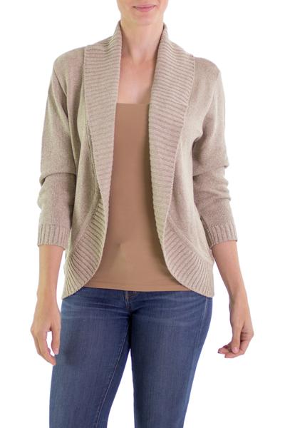 Cotton cardigan sweater, 'Maya Beige' - Women's Natural Cotton Cardigan Sweater