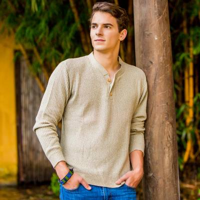 Men's cotton sweater, 'Maya Gentleman' - Unique Handspun Cotton Pullover Sweater