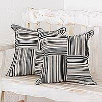 Cotton cushion covers, 'Four Directions' (pair) - Hand Crafted Cotton Cushion Cover Set from Central America