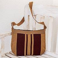 Leather accent cotton shoulder bag, 'Half Moon' - Striped Cotton Shoulder Bag