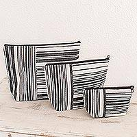 Cotton cosmetic bags, 'Inclusive' (set of 3) - Striped Cotton Cosmetic Travel Bags (Set of 3)