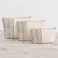 Cotton cosmetic bags, 'Happiness' (set of 3) - Artisan Crafted Cotton Cosmetic Travel Bags (Set of 3)