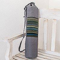 Cotton yoga mat bag, 'Atitlan Lake' - Striped Cotton Yoga Bag from Guatemala