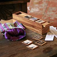 Wood memory game, 'Treasures of Antigua' - Wood memory game