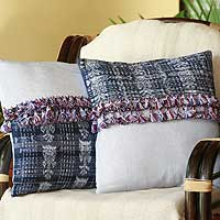 Cushion covers, 'Tocola Blues' (pair) - Cushion covers (Pair)