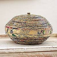 Recycled paper box, 'Spiral' - Recycled Newspaper Decorative Basket