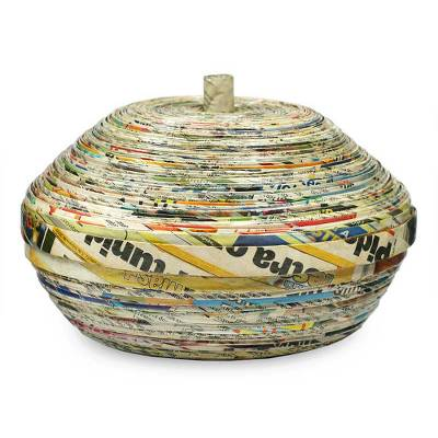 Recycled paper decorative box, 'News from Guatemala' - Central American Modern Recycled Paper Decorative Basket