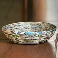 Recycled paper decorative bowl, 'Vortex'