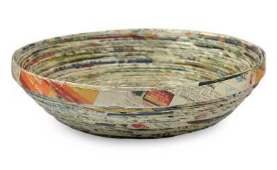 Recycled paper decorative bowl, 'Vortex' - Modern Recycled Paper Bowl Centerpiece