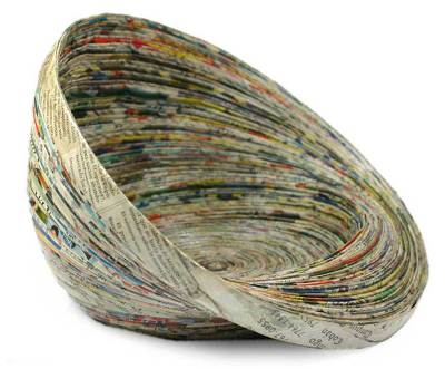 Recycled paper centerpiece, 'Waves' - Modern Recycled Paper Bowl Centerpiece from Central America